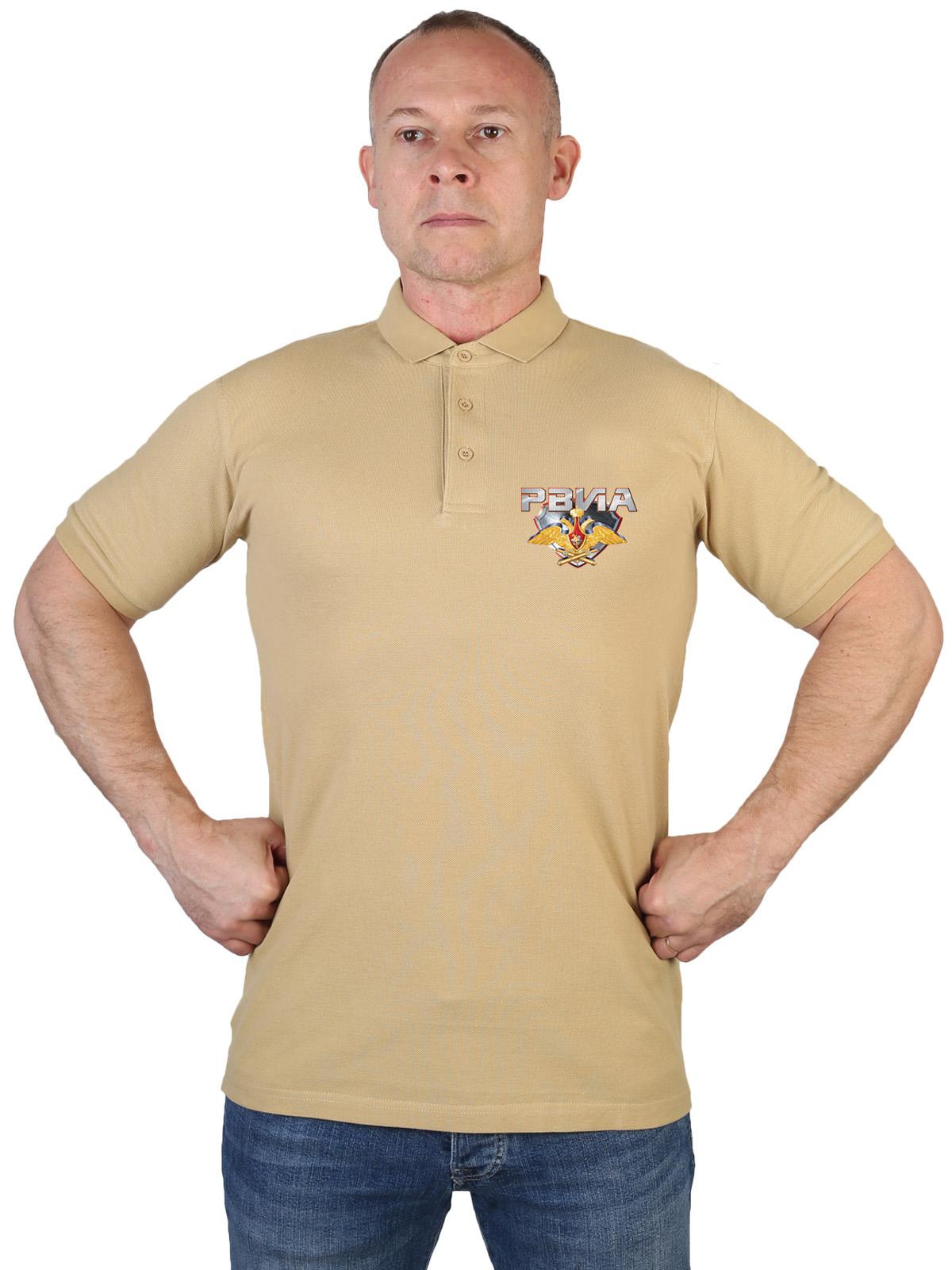Купить хлопковую мужскую футболку-поло с термонаклейкой РВиА в подарок