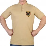 Хлопковая песочная футболка-поло с термонаклейкой Мотострелковые Войска