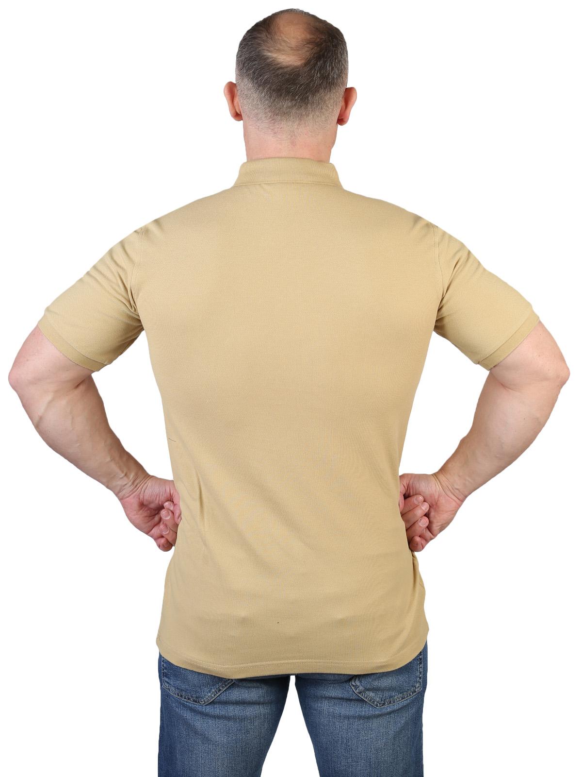 Хлопковая песочная футболка-поло с вышивкой РХБЗ