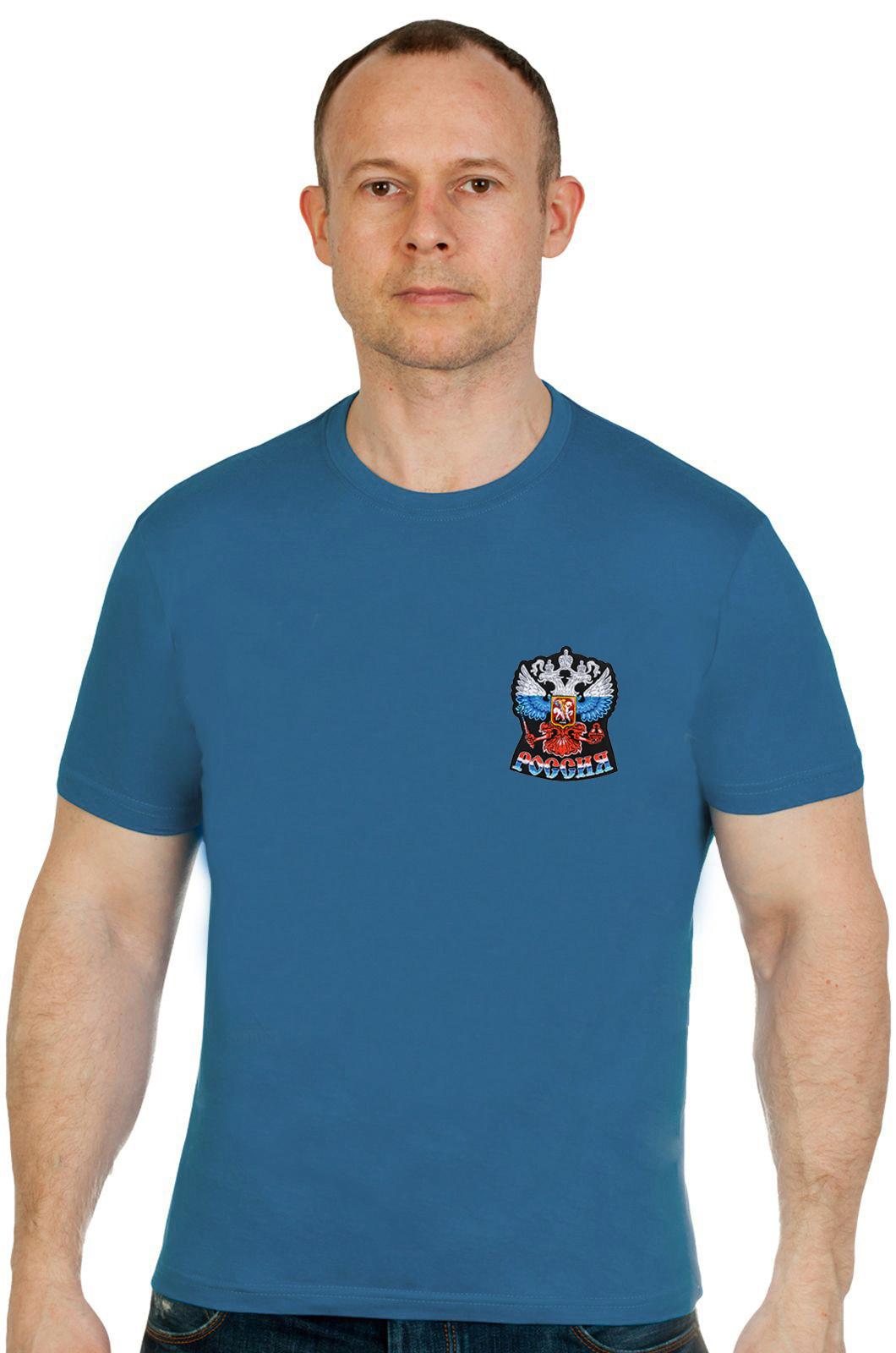 Купить хлопковую сине-зеленую футболку с вышитым Гербом России оптом или в розницу
