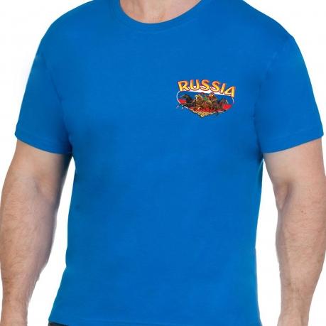 Хлопковая синяя футболка РОССИЯ