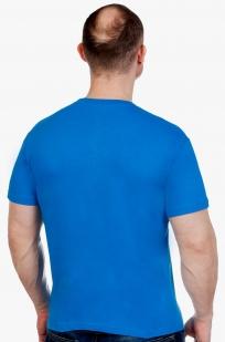 Хлопковая синяя футболка РОССИЯ - заказать в подарок