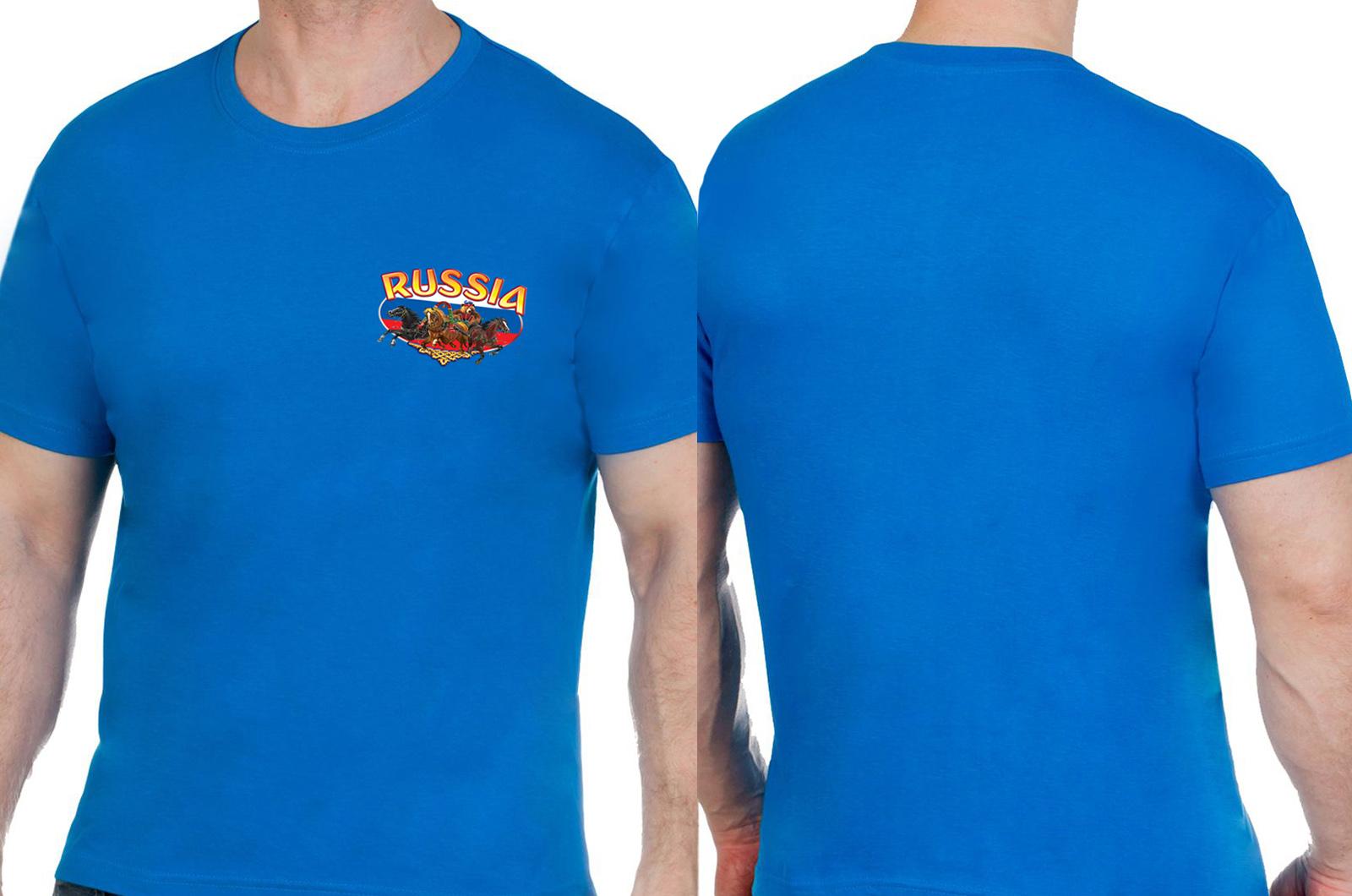 Хлопковая синяя футболка РОССИЯ - заказать онлайн