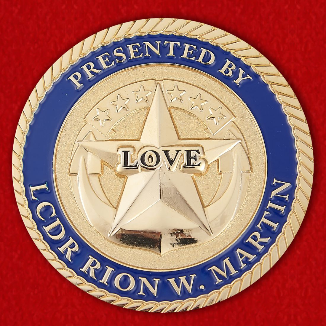 Presented by LCDR Rion W. Martin USS Sentry (MCM-3) Challenge Coin