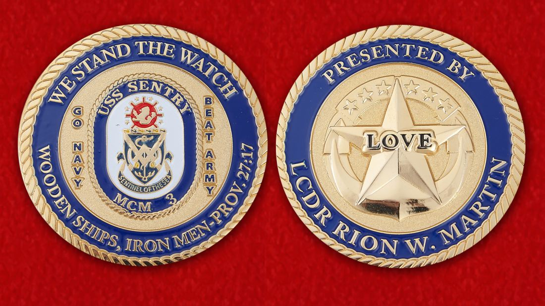 Presented by LCDR Rion W. Martin USS Sentry (MCM-3) Challenge Coin - obverse and reverse