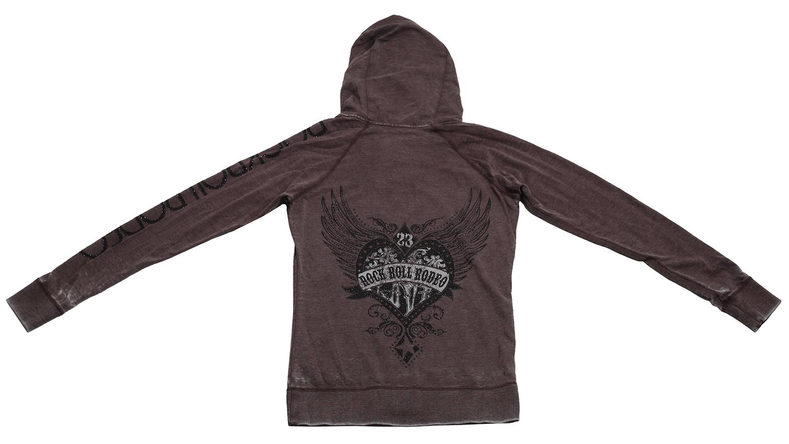 Купить худи с карманом кенгуру Rock&Roll RODEO с сердечным принтом для осенних дней по лояльной цене
