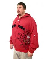 Ярко-красная мужская кофта толстовка. Брендовая молодежная модель из сезонной коллекции Ragga Mundo. Подходит и под спортивный стиль, и под городской кэжуал