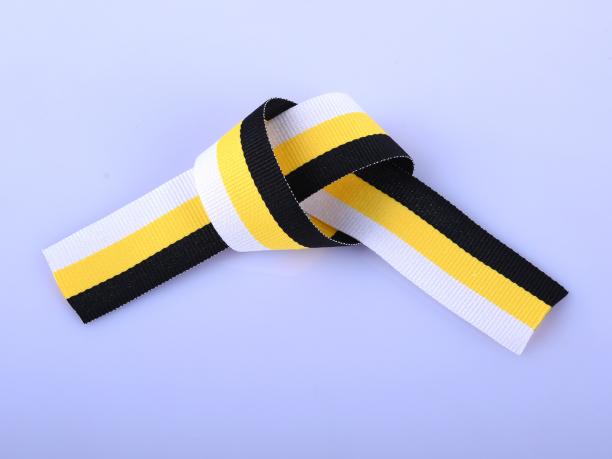 Имперская чёрно-жёлто-белая ленточка (3x30 см)