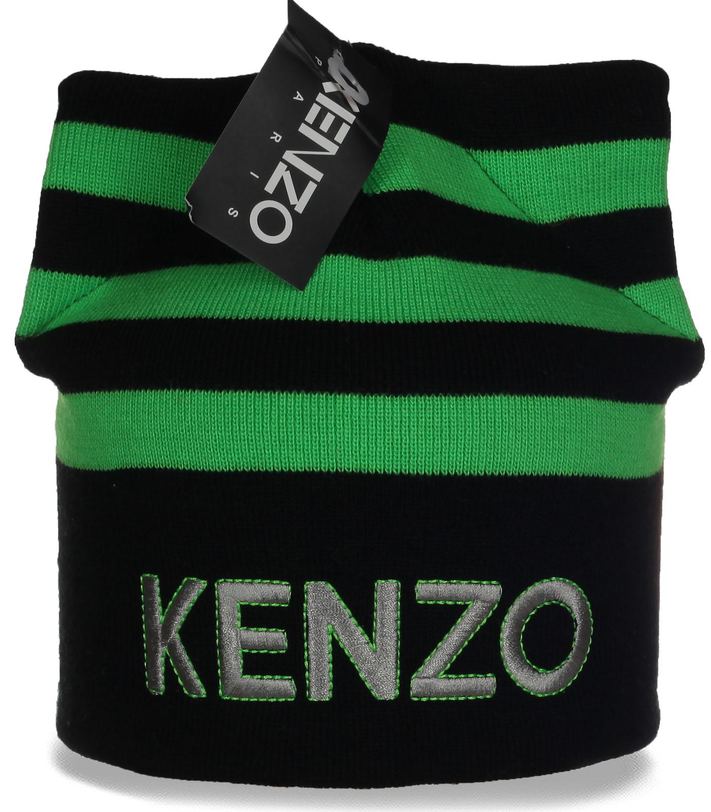 Исключительная трикотажная шапка с ушками Kenzo молодежная модель шикарным красоткам