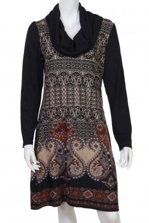 Изящное этно-платье до колен с воротом-хомутом