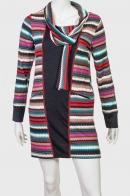Изящное платье с этно-узором и шарфом от Longbao