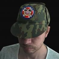 Камуфлированная крутая кепка с термонаклейкой Военная Разведка