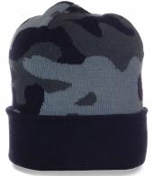 Камуфлированная мужская шапка с отворотом