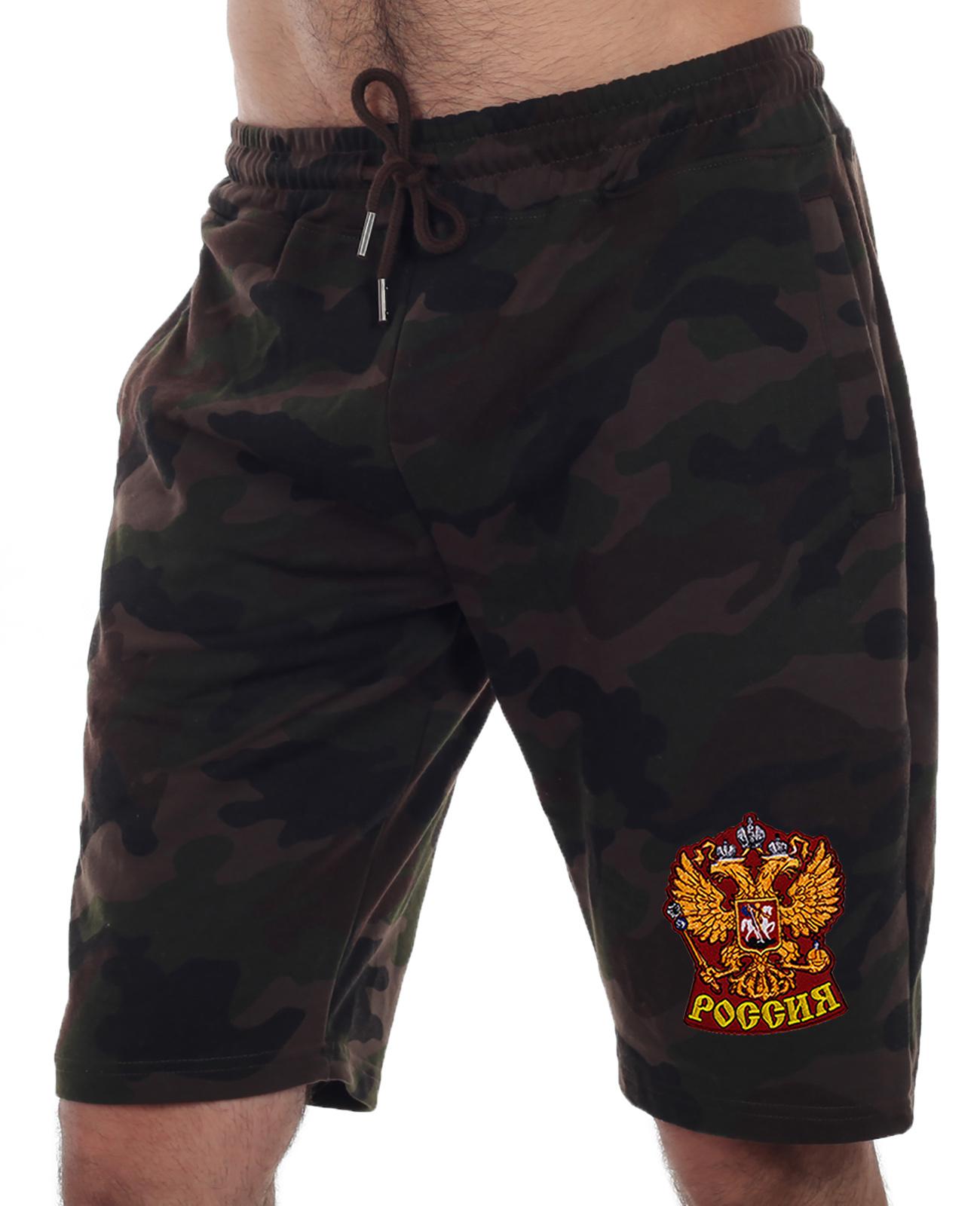 Купить камуфлированные армейские шорты с нашивкой Россия в подарок выгодно