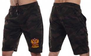 Камуфлированные армейские шорты с нашивкой Россия - купить в розницу