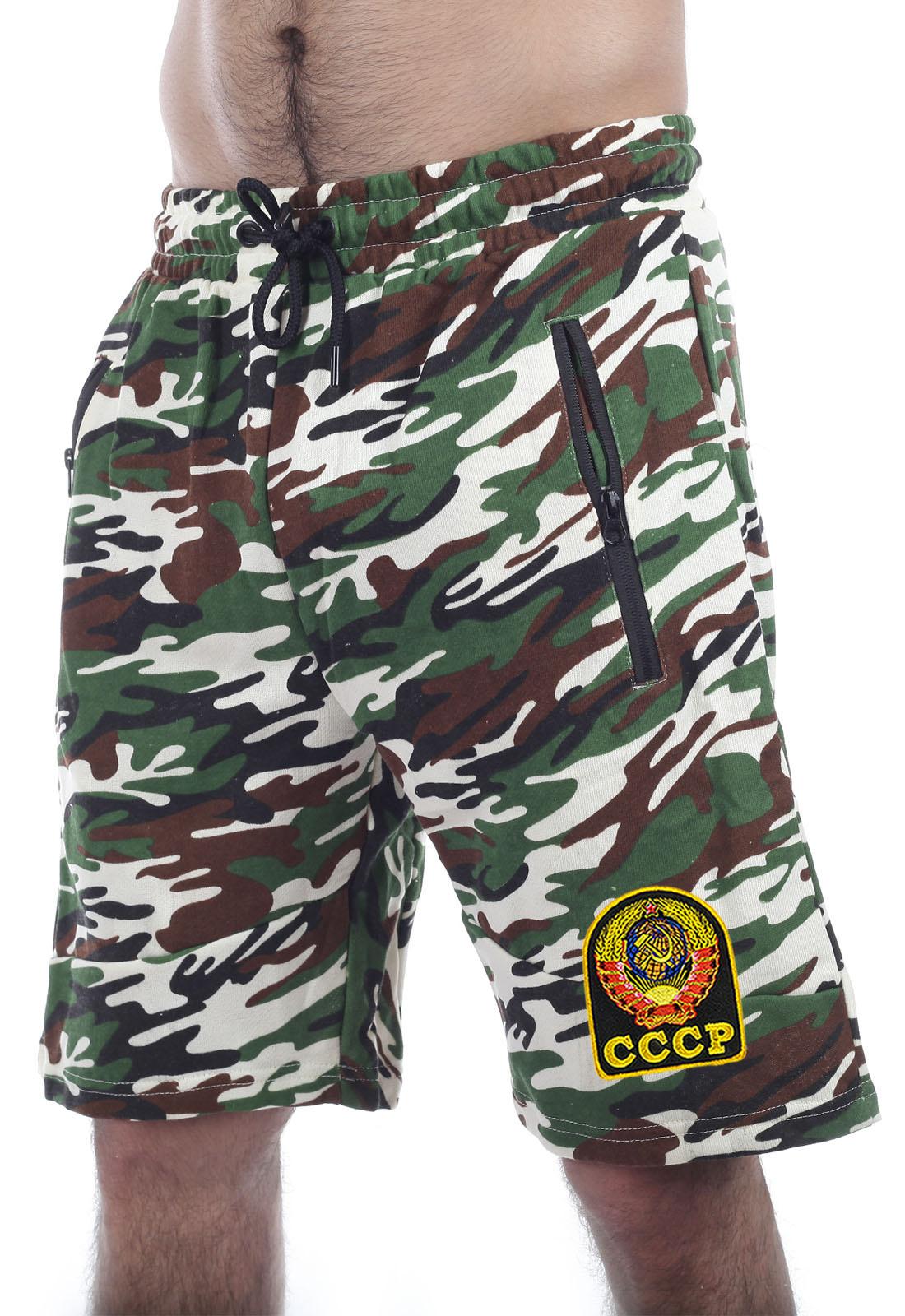Купить камуфлированные модные шорты с нашивкой СССР оптом или в розницу