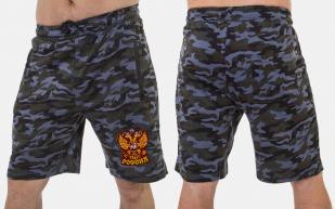 Камуфлированные мужские шорты с нашивкой Россия - купить в подарок