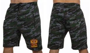 Камуфлированные свободные шорты с нашивкой Россия -т заказать в подарок