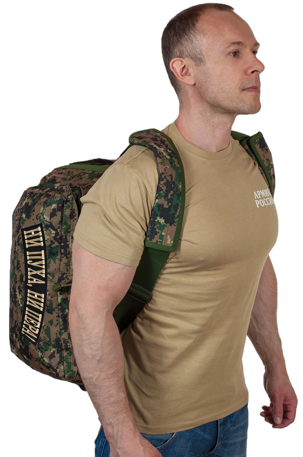 Камуфляжная дорожная сумка с нашивкой Ни пуха, Ни пера - купить онлайн