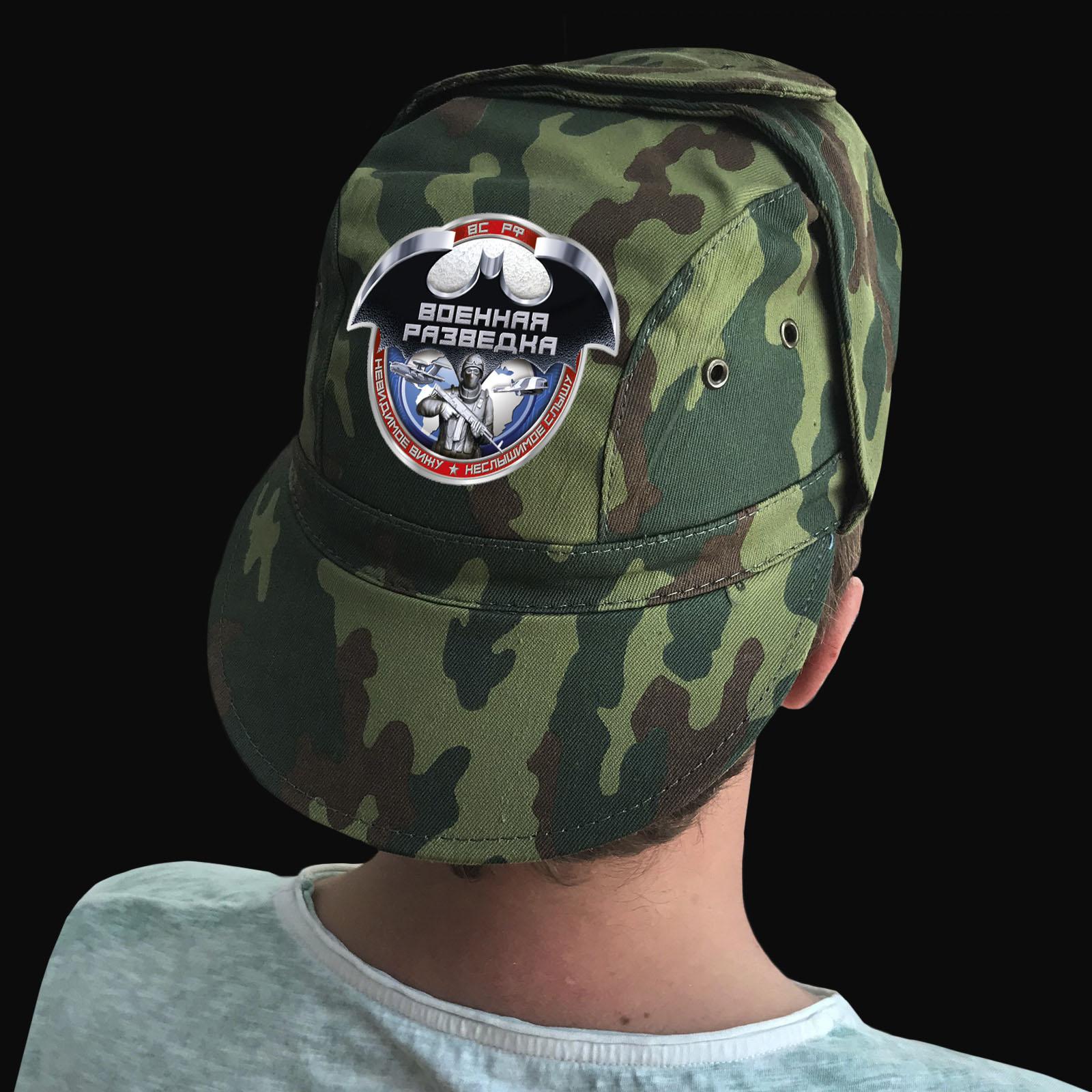Купить камуфляжную форменную кепку с термонаклейкой Военная Разведка оптом выгодно