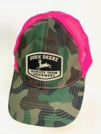 Камуфляжная летняя бейсболка John Deere с розовой сеткой