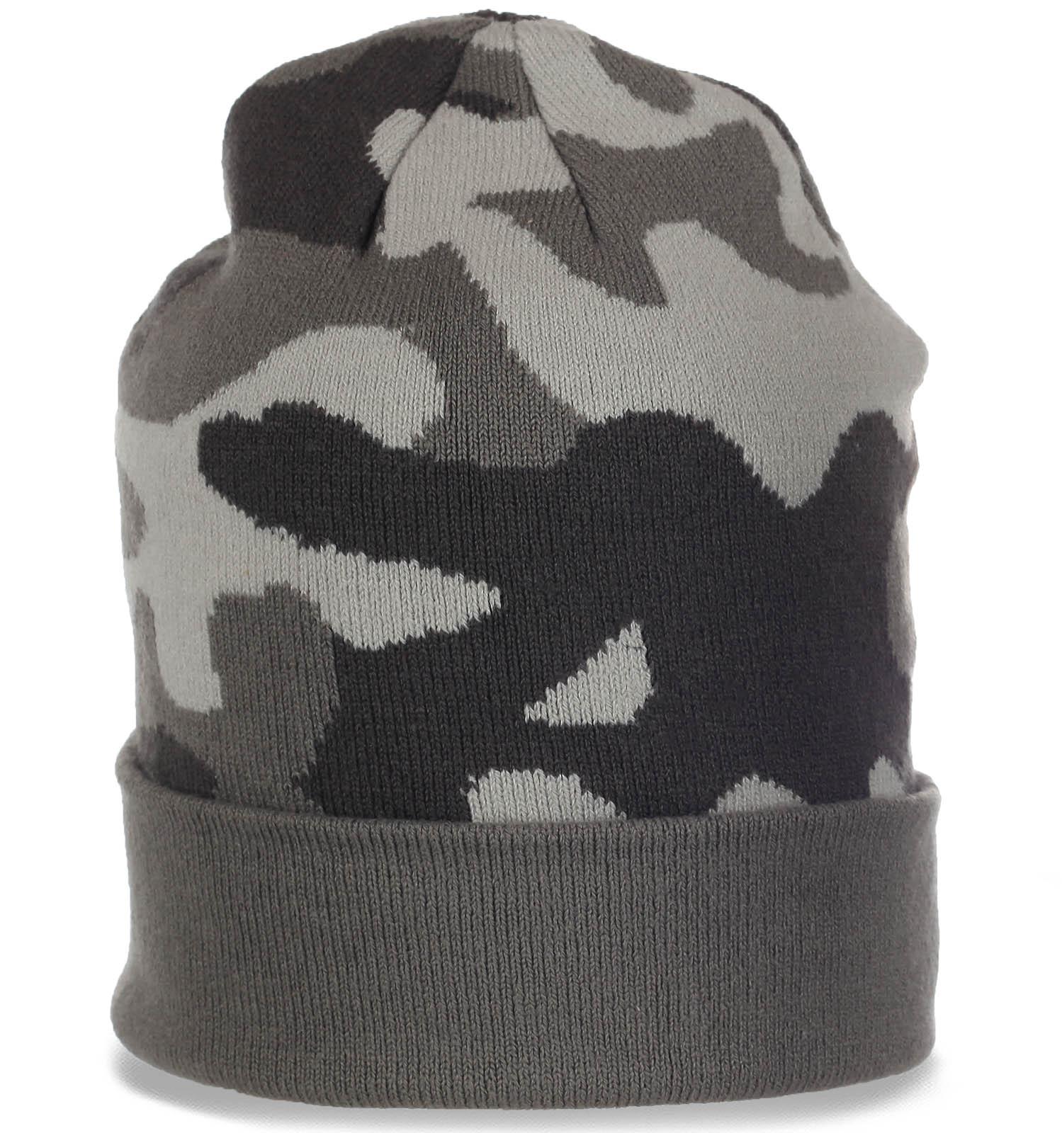 Камуфляжная мужская шапка с отворотом