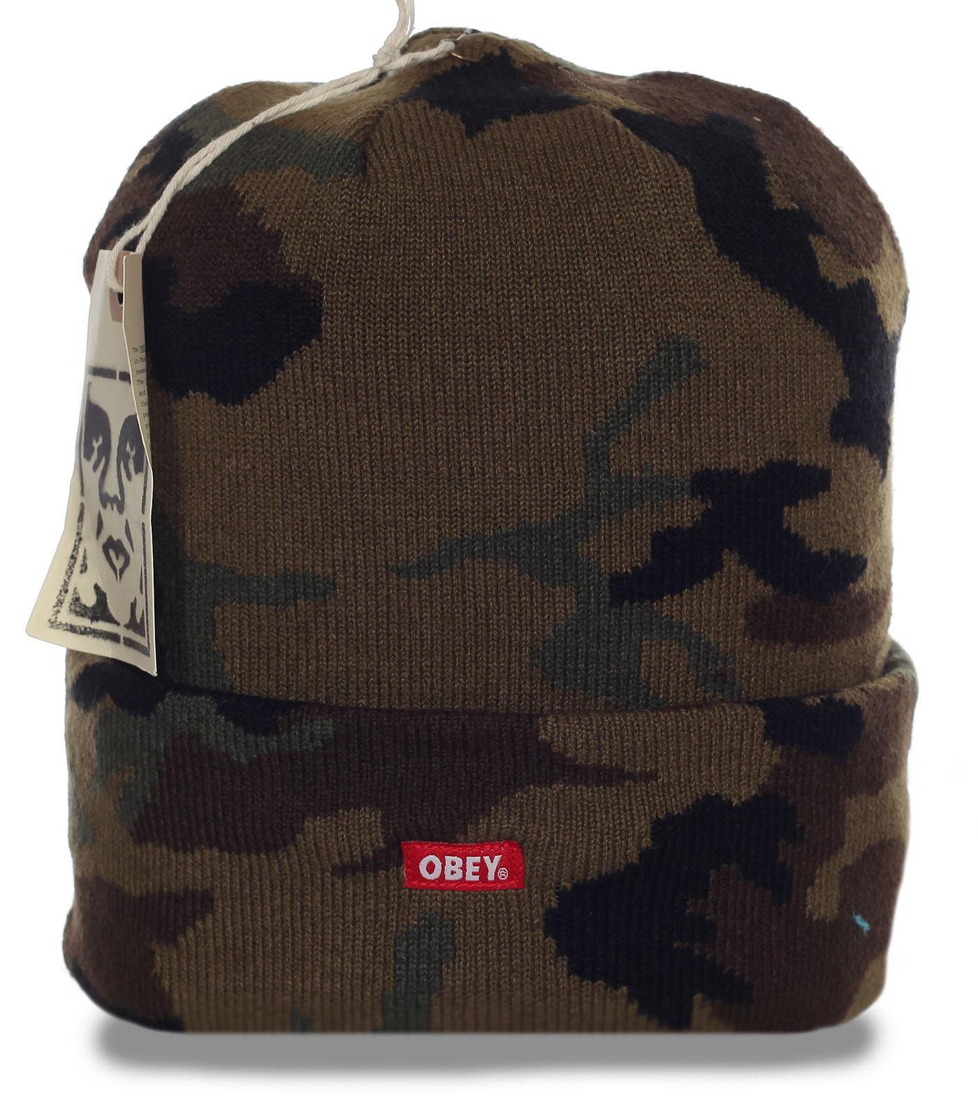 Камуфляжная мужская шапка солидного бренда Obey рыбаку и охотнику