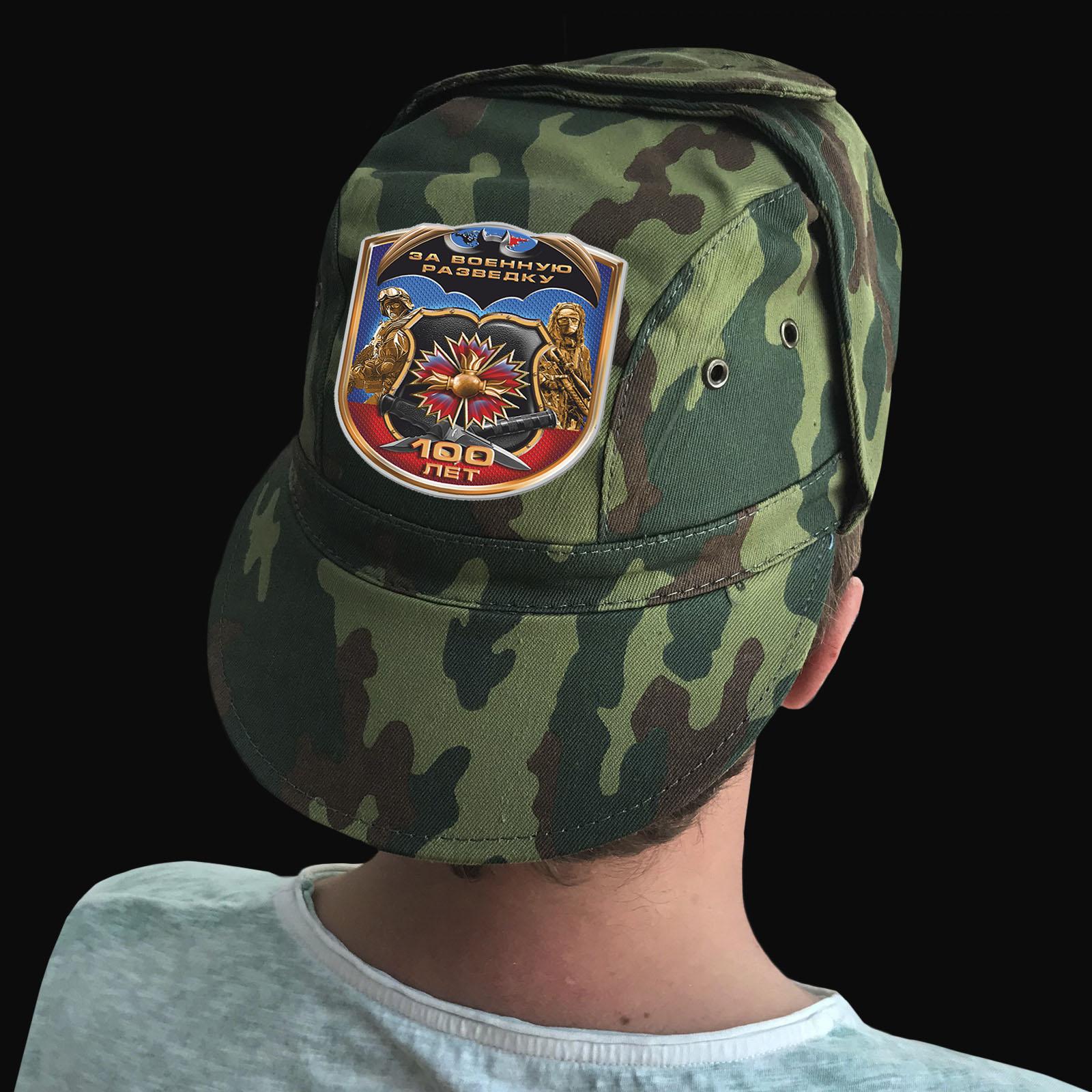 Купить камуфляжную надежную кепку с термотрансфером Военная Разведка в подарок