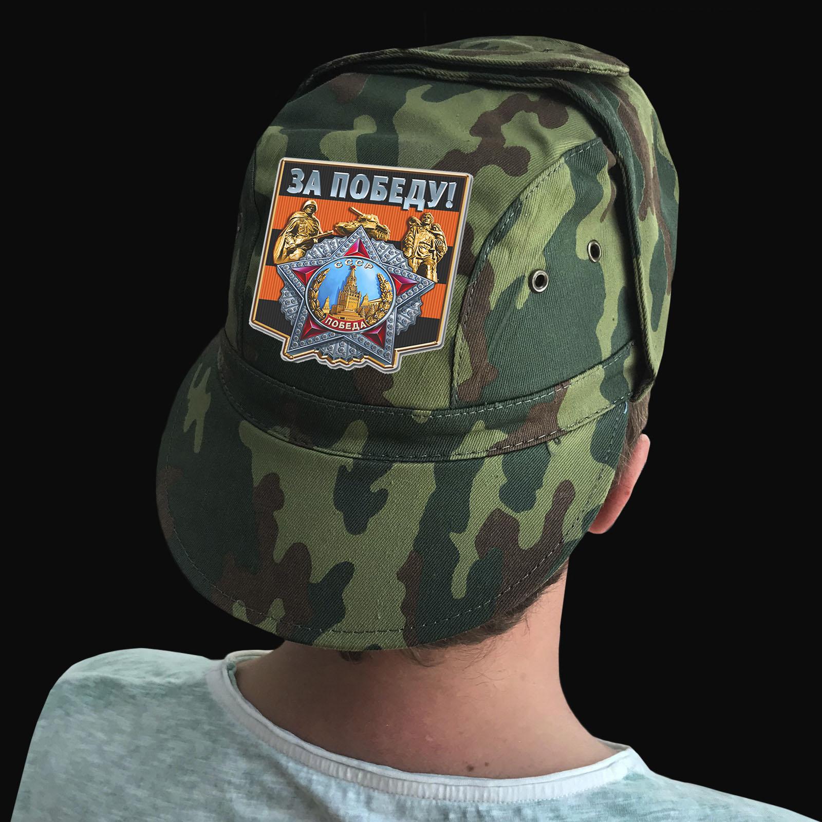 Купить камуфляжную рыбацкую кепку с термонаклейкой За Победу выгодно оптом