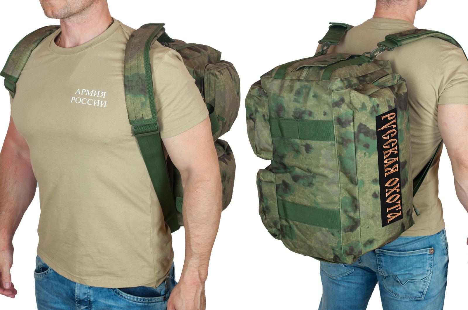 Камуфляжная заплечная сумка с нашивкой Русская Охота - купить в подарок