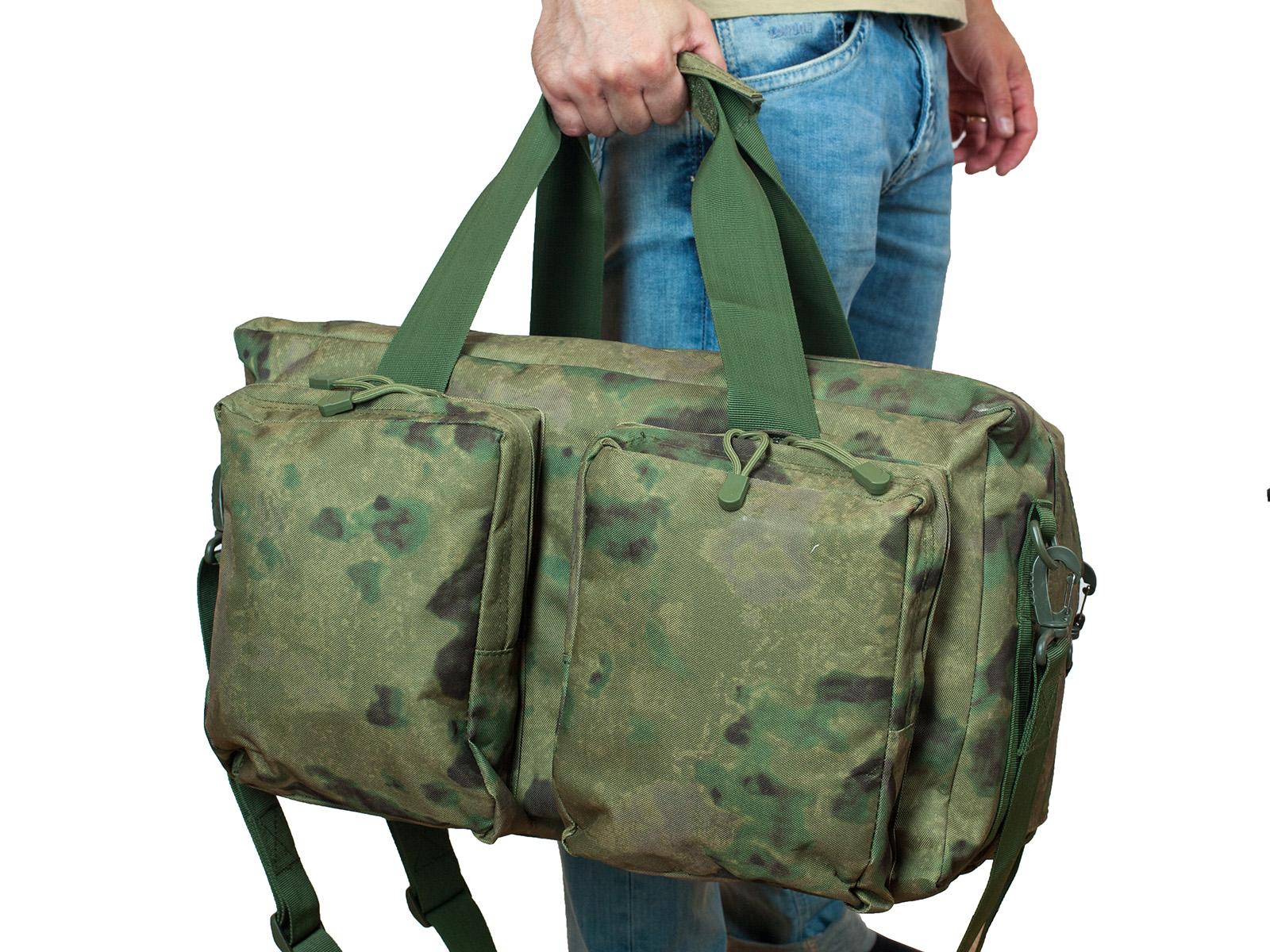 Камуфляжная заплечная сумка с нашивкой Русская Охота - заказать в подарок