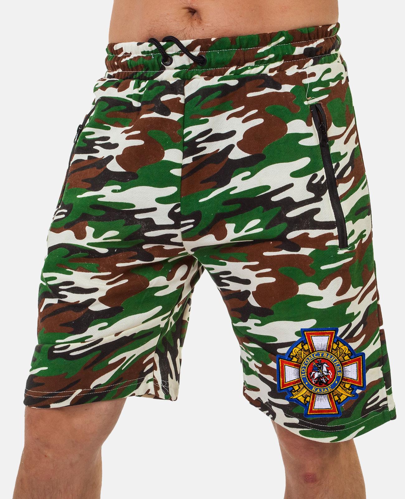 Камуфляжные мужские шорты с эмблемой Потомственный казак купить по демократичной цене