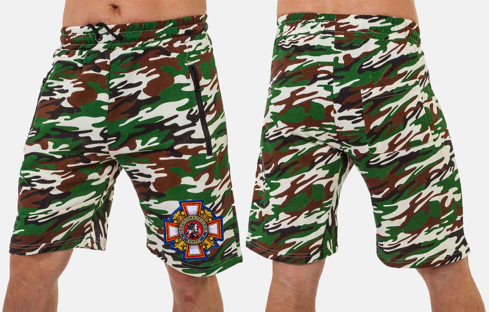 Камуфляжные мужские шорты с эмблемой Потомственный казак купить оптом