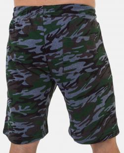 Камуфляжные мужские шорты с карманами и нашивкой Россия - купить онлайн