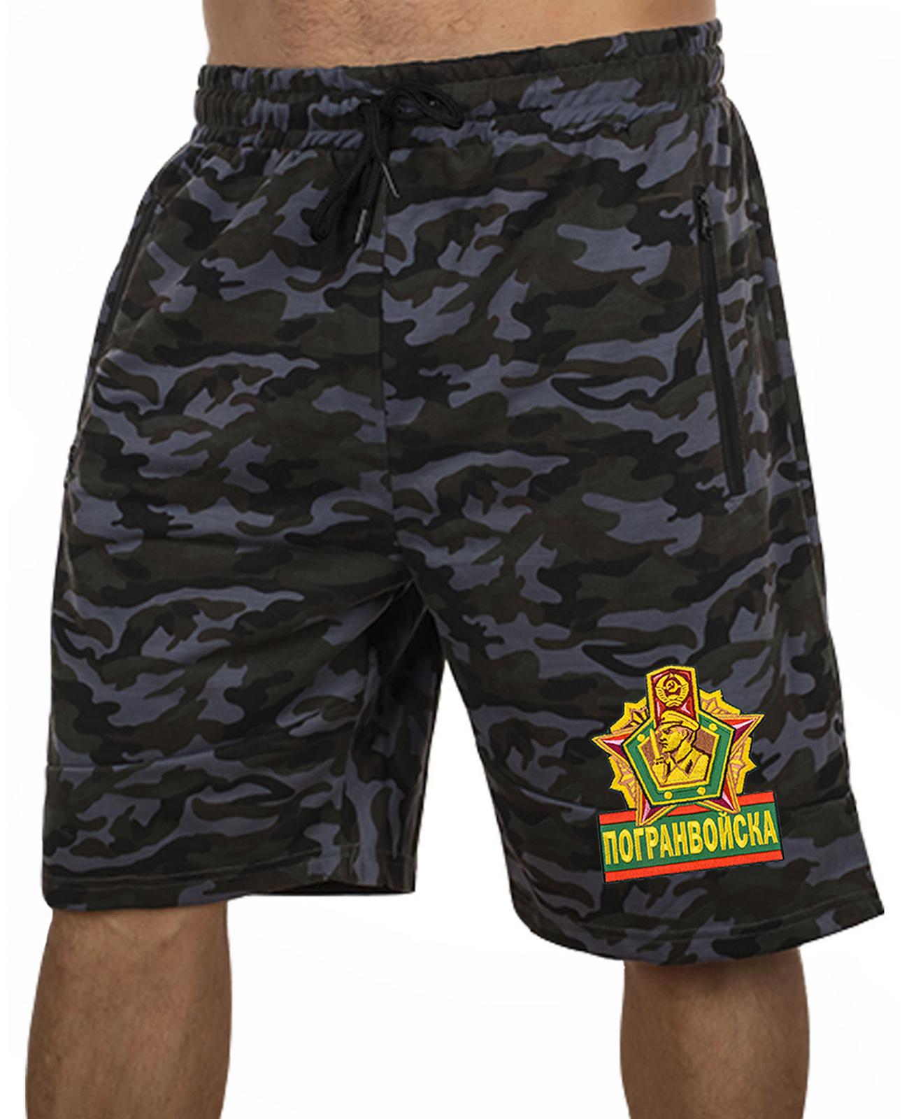 Купить камуфляжные мужские шорты с нашивкой Погранвойска оптом выгодно