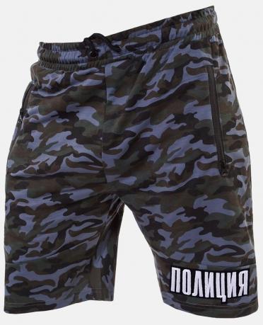 Камуфляжные мужские шорты с нашивкой ПОЛИЦИЯ