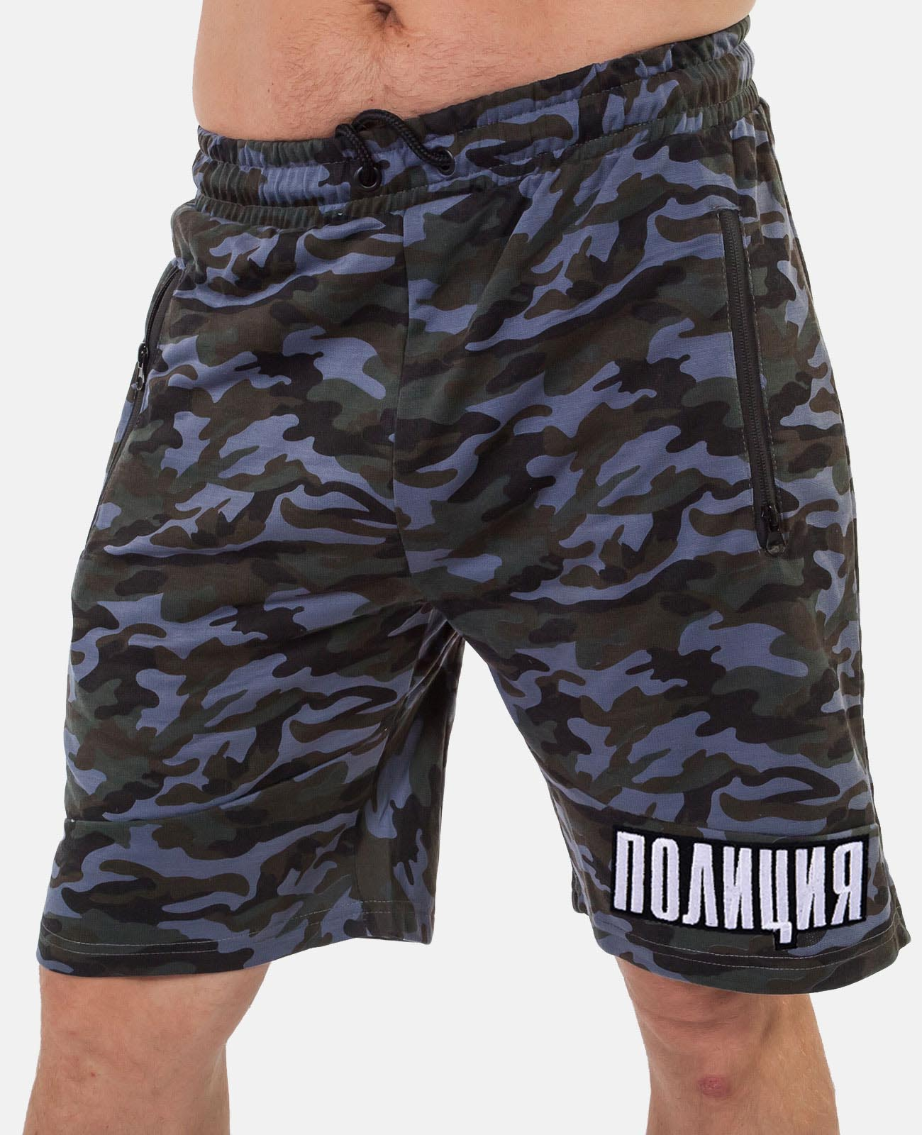 Купить камуфляжные мужские шорты с нашивкой ПОЛИЦИЯ с доставкой онлайн