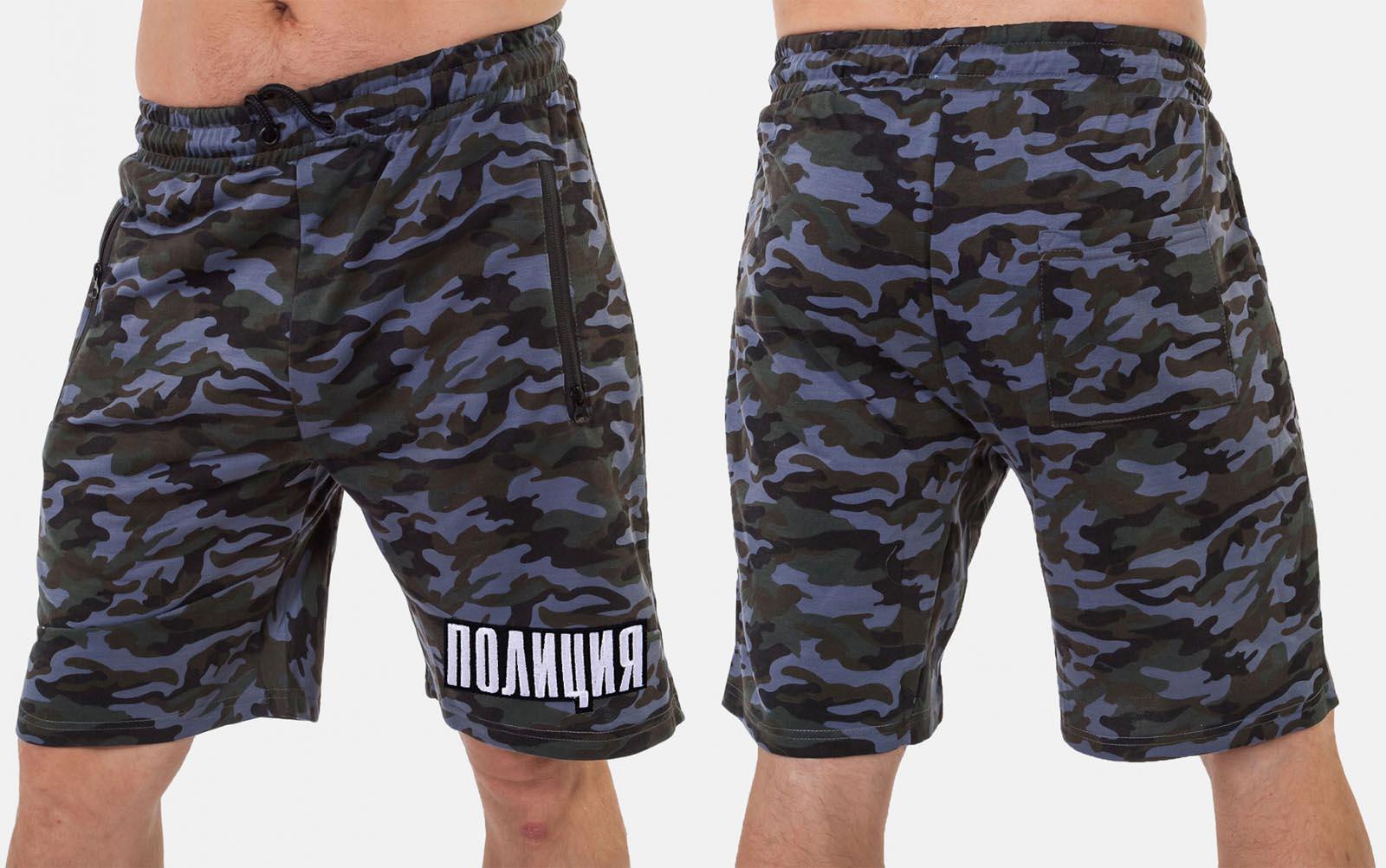 Камуфляжные мужские шорты с нашивкой ПОЛИЦИЯ - купить онлайн