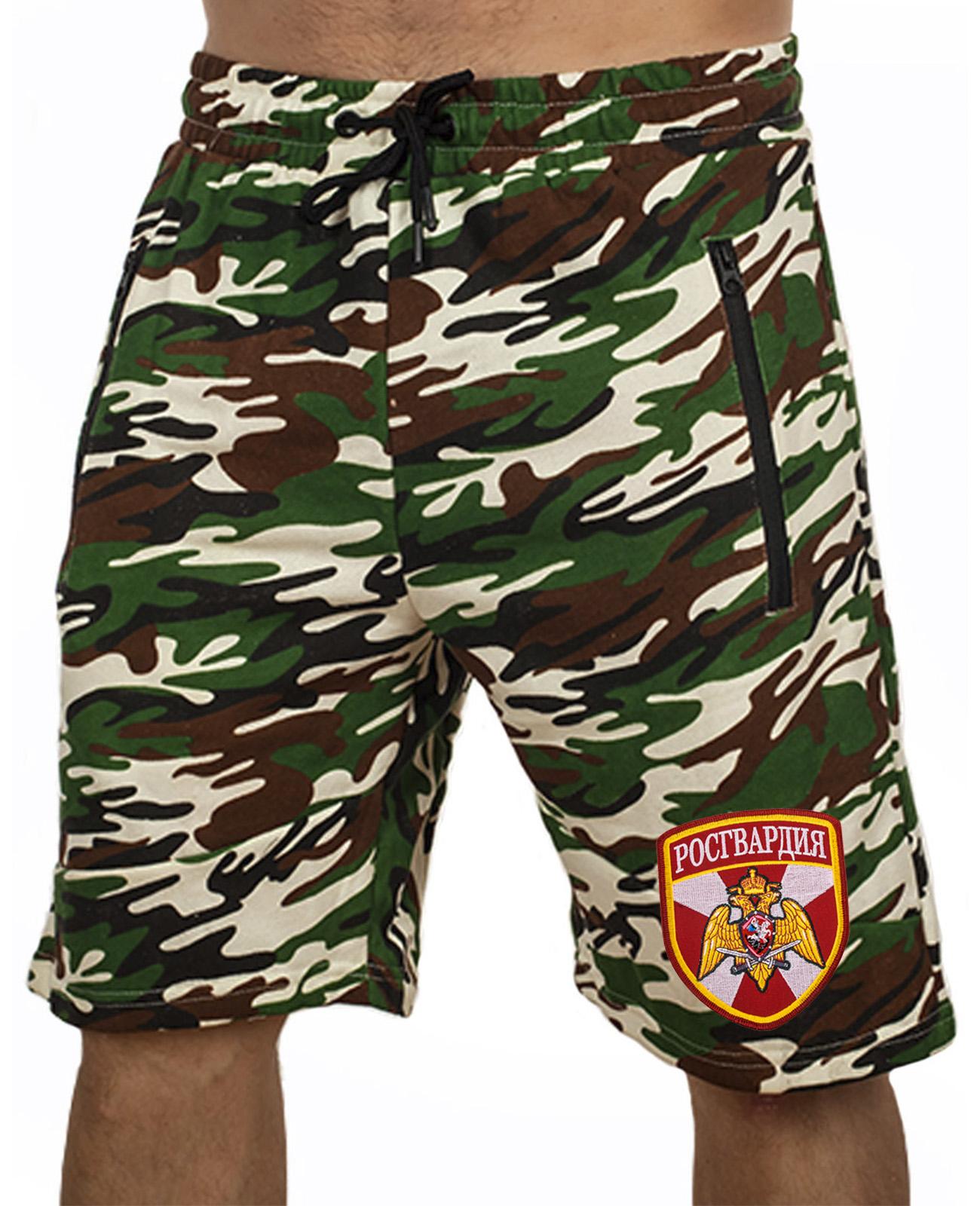 Купить камуфляжные мужские шорты с нашивкой Росгвардия в подарок мужу