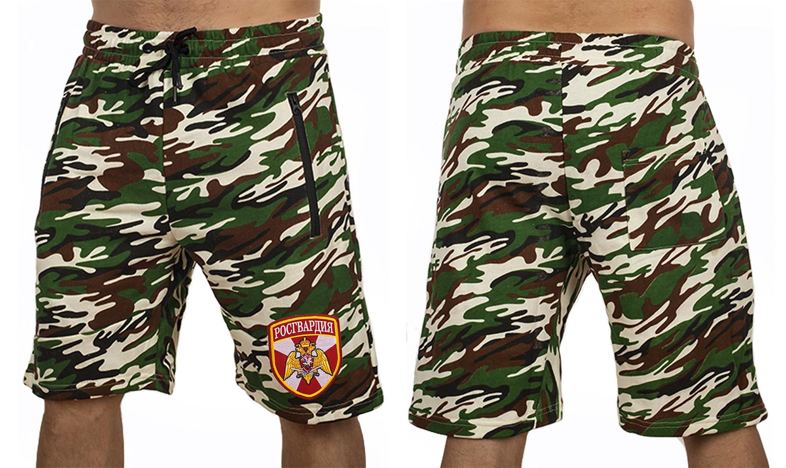 Камуфляжные мужские шорты с нашивкой Росгвардия - купить в подарок