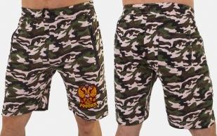 Камуфляжные мужские шорты с нашивкой Россия - заказать с доставкой