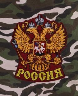 Камуфляжные мужские шорты с нашивкой Россия