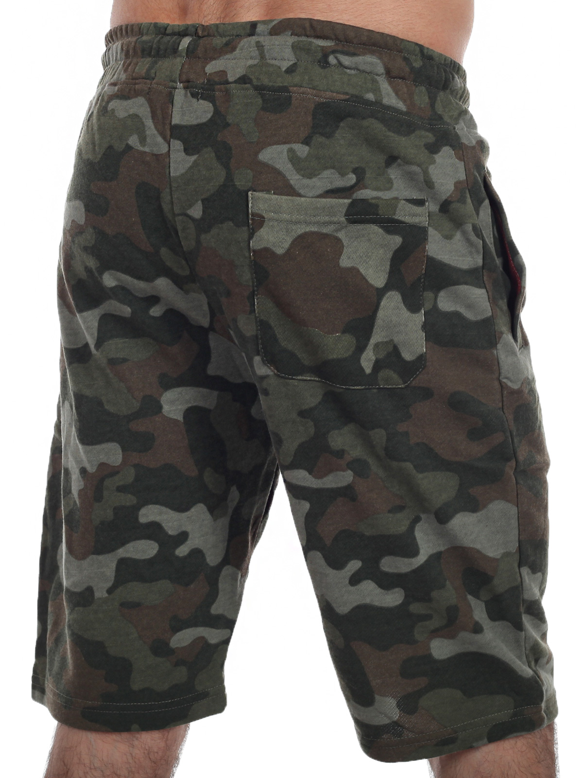 Камуфляжные мужские шорты с нашивкой Русская Охота - заказать онлайн