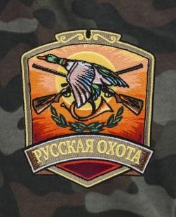 Камуфляжные мужские шорты с нашивкой Русская Охота