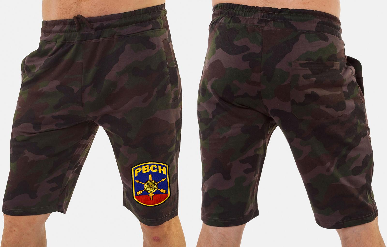 Камуфляжные мужские шорты с нашивкой РВСН - купить с доставкой