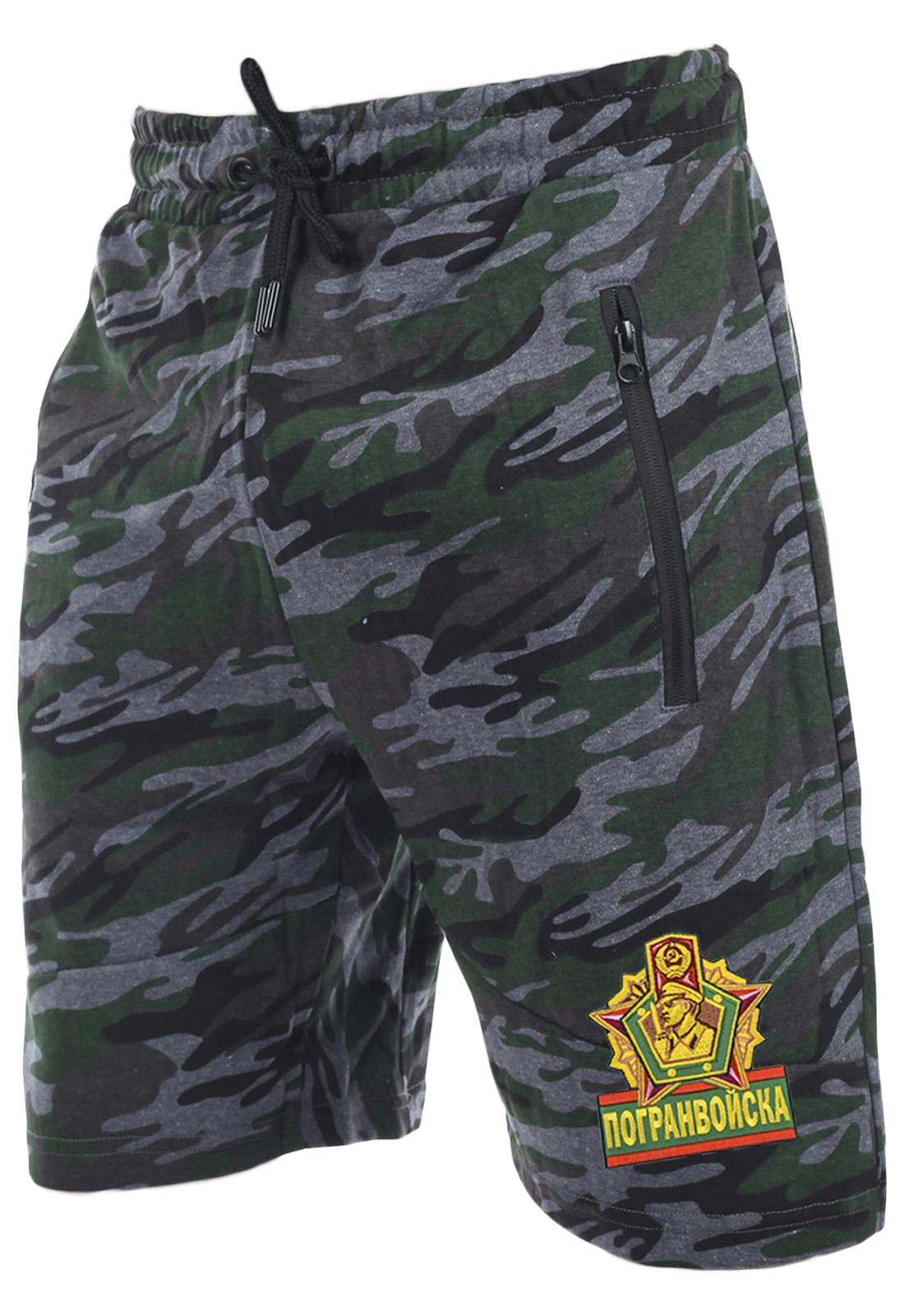 Камуфляжные серо-зеленые шорты с нашивкой Погранвойска