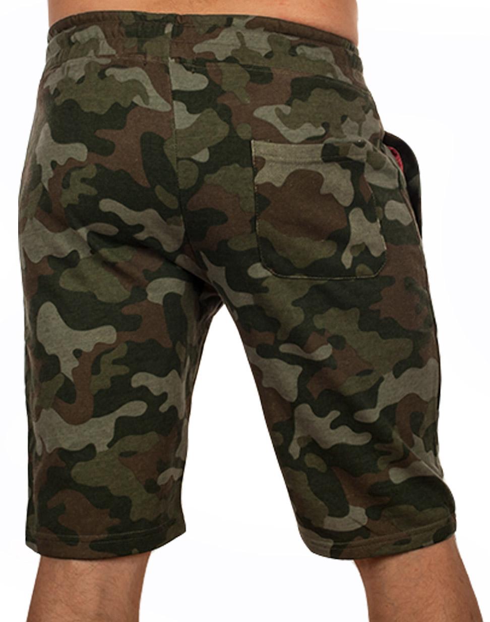 Камуфляжные шорты свободного кроя с нашивкой РВСН - заказать оптом