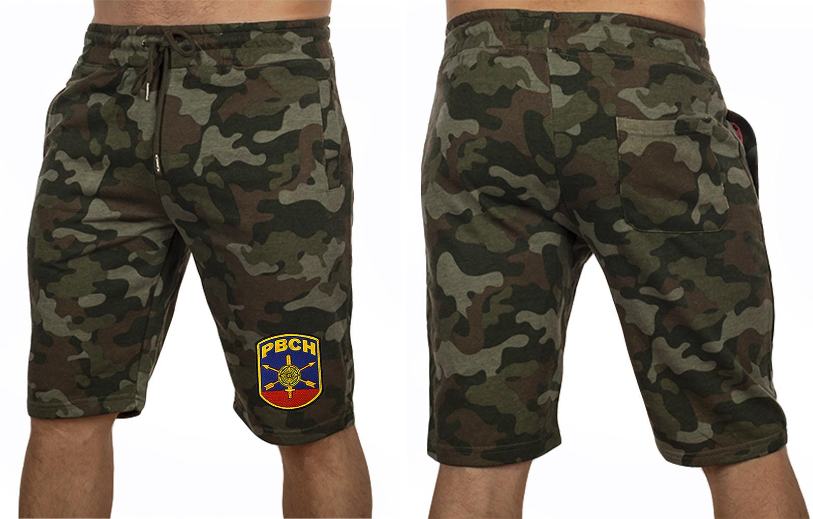 Камуфляжные шорты свободного кроя с нашивкой РВСН - заказать выгодно