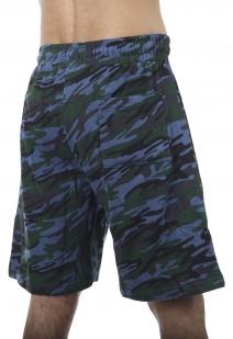 Камуфляжные синие шорты с карманами и нашивкой Росгвардия - купить онлайн