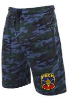Камуфляжные синие шорты свободного кроя с нашивкой РВСН